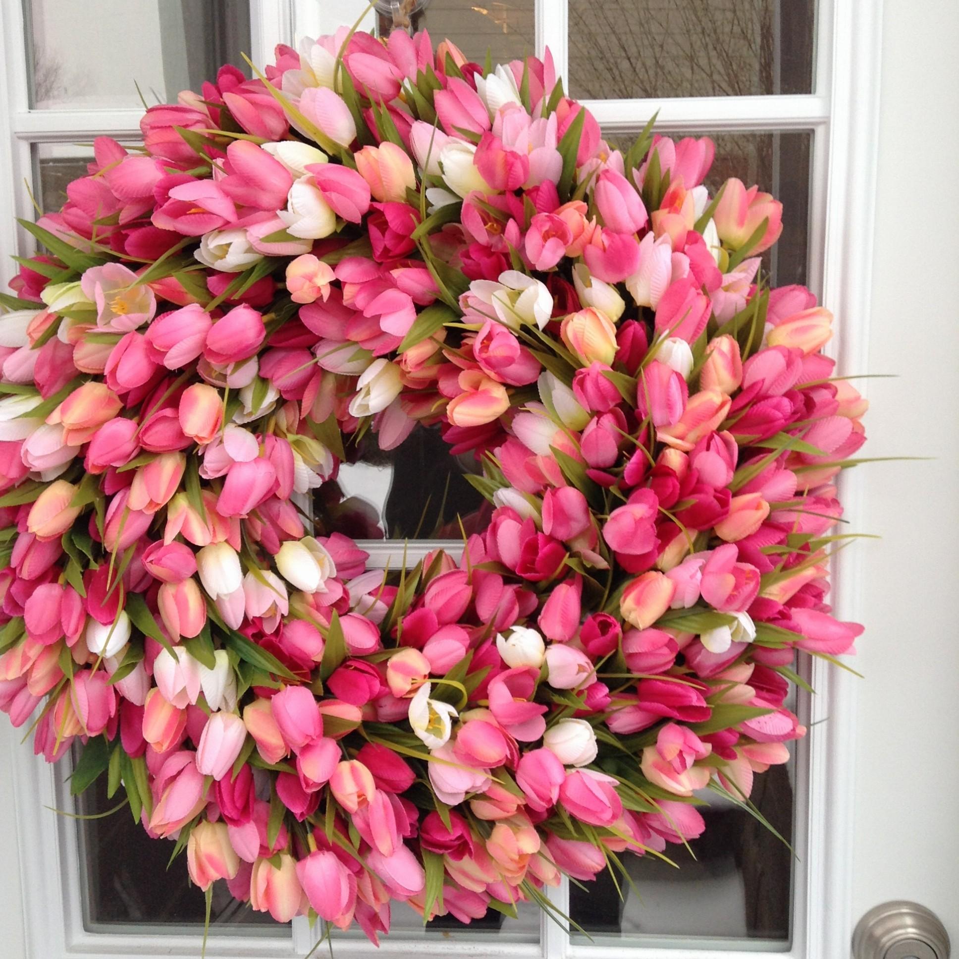 Spring Wreath Tulip Wreath Orange Tulip Wreath Summer