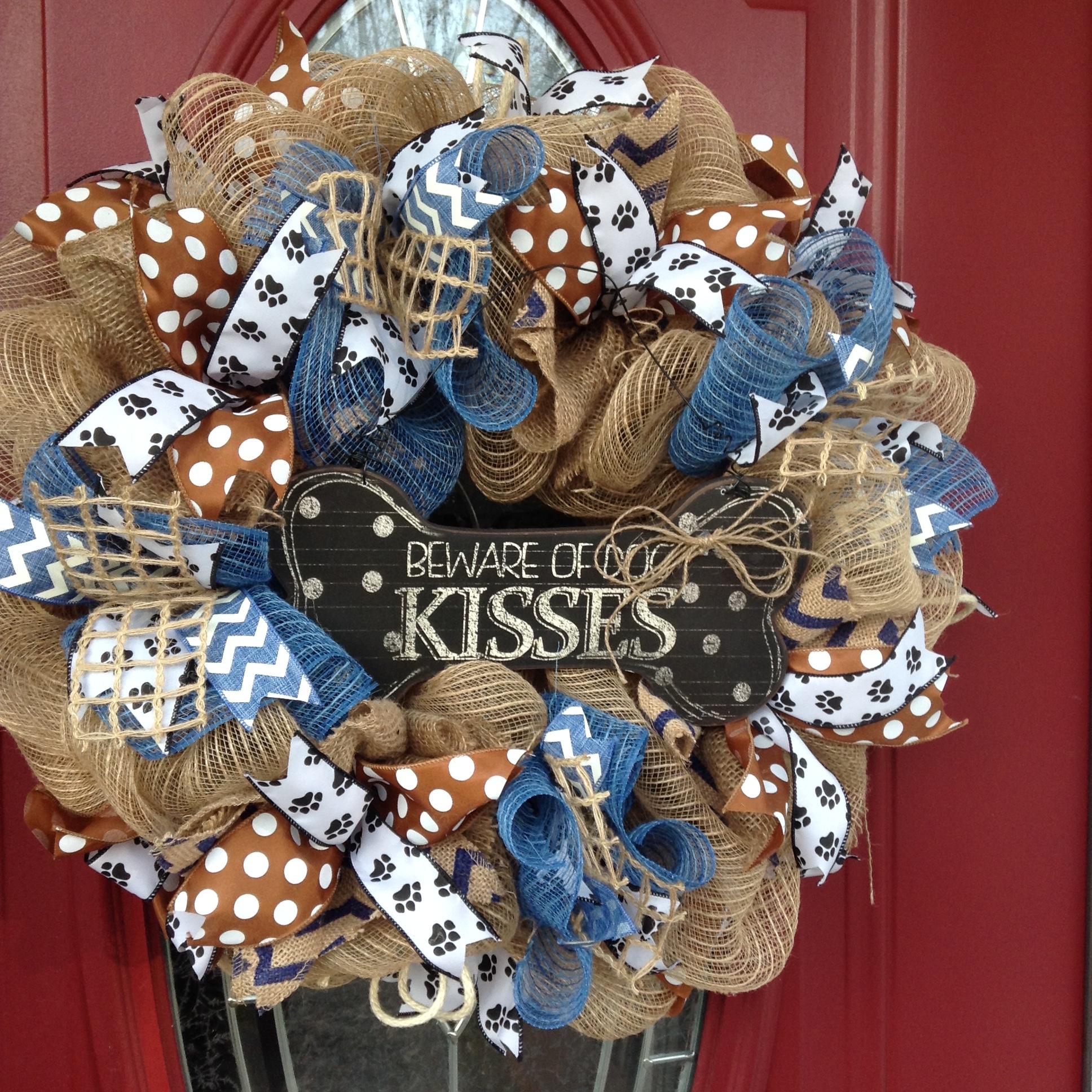 Dog Wreath Pet Wreath Dog Kisses Front Door Wreath