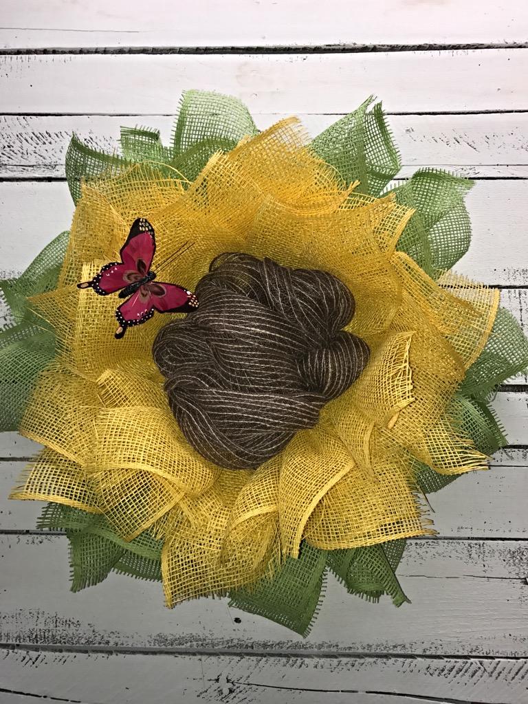 ... Yellow Flower Wreath, Butterfly. ; 