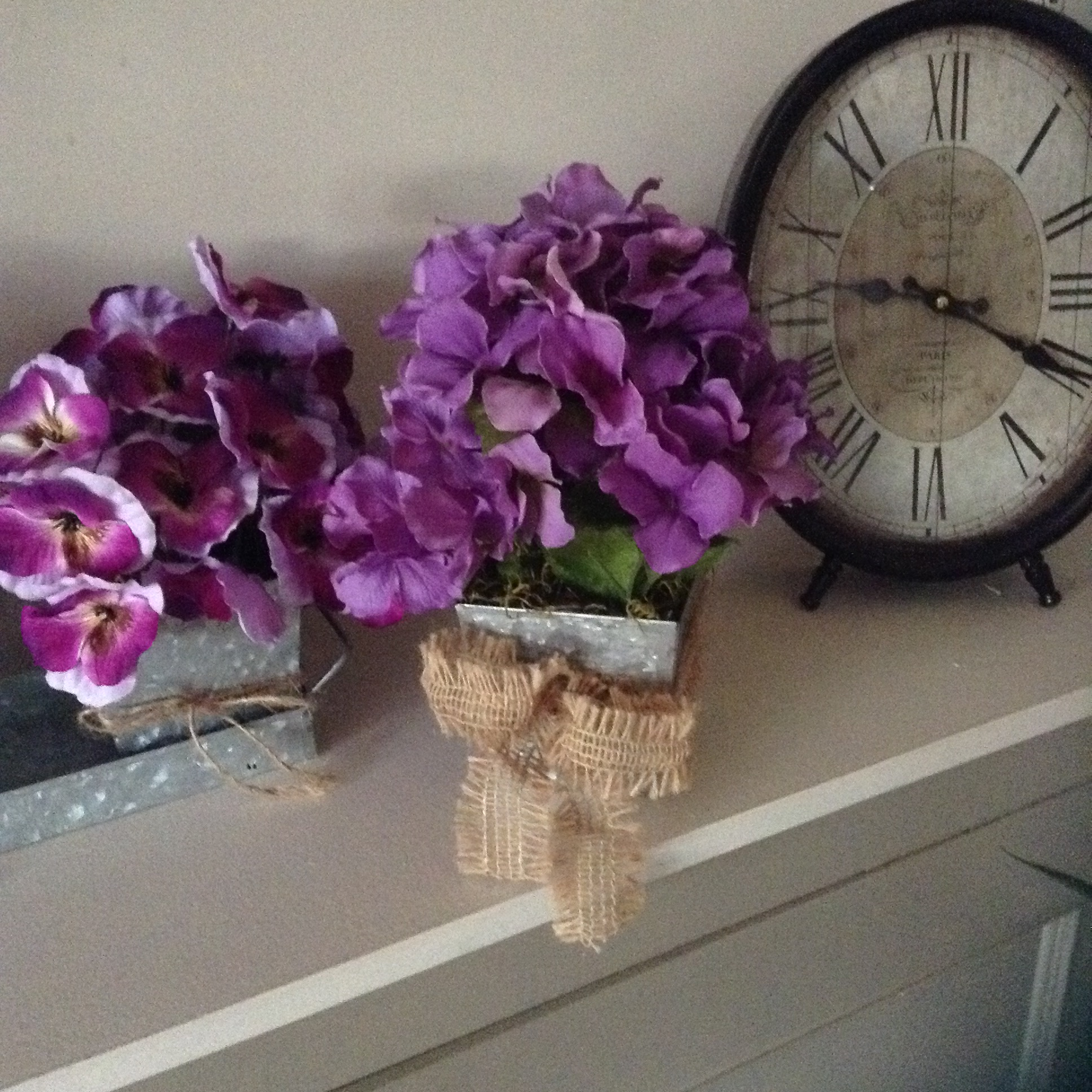 Sale floral centerpiece rustic pansies