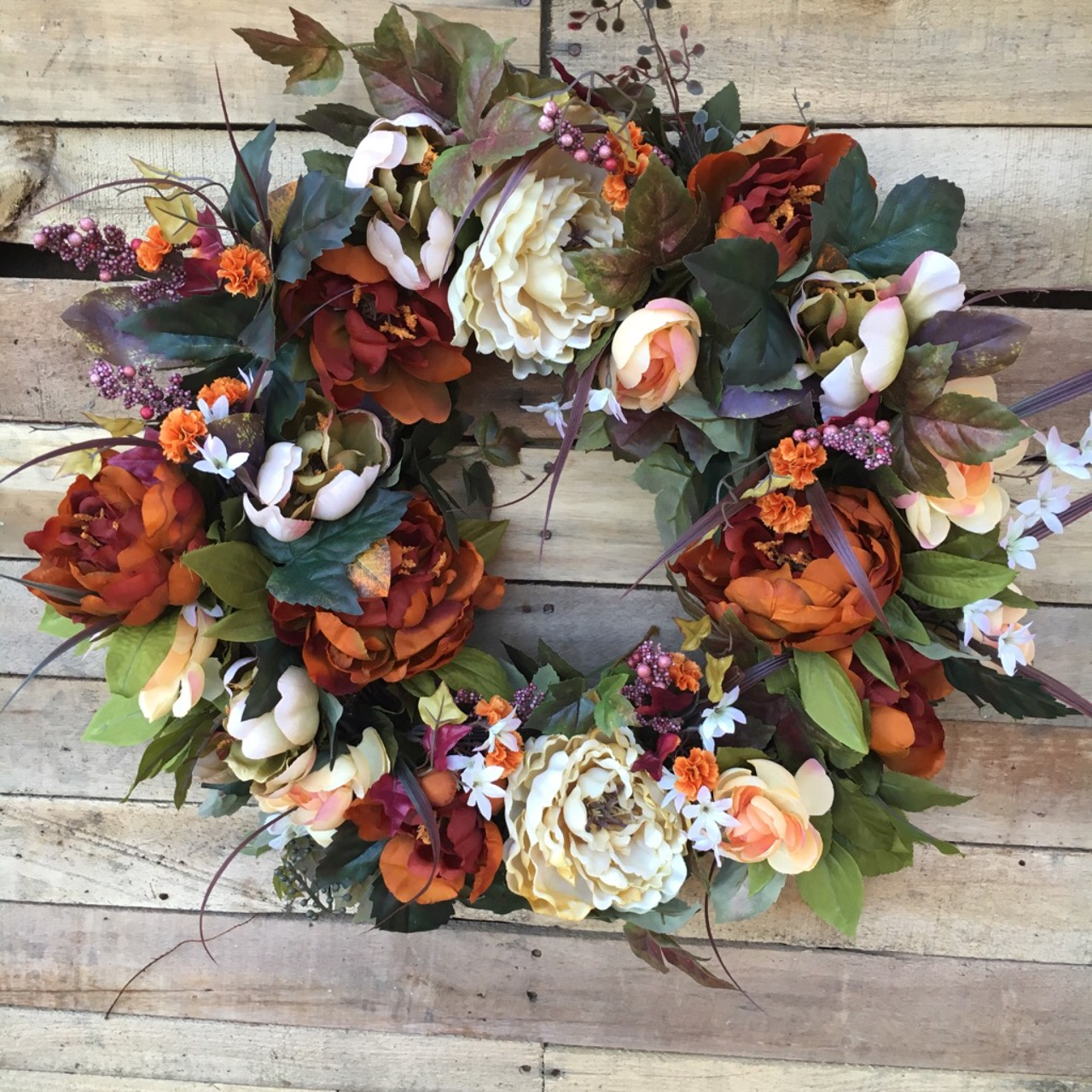 Wreath, Door Wreath, Fall Wreath, Fall Silk Flower Wreath, Autumn ...