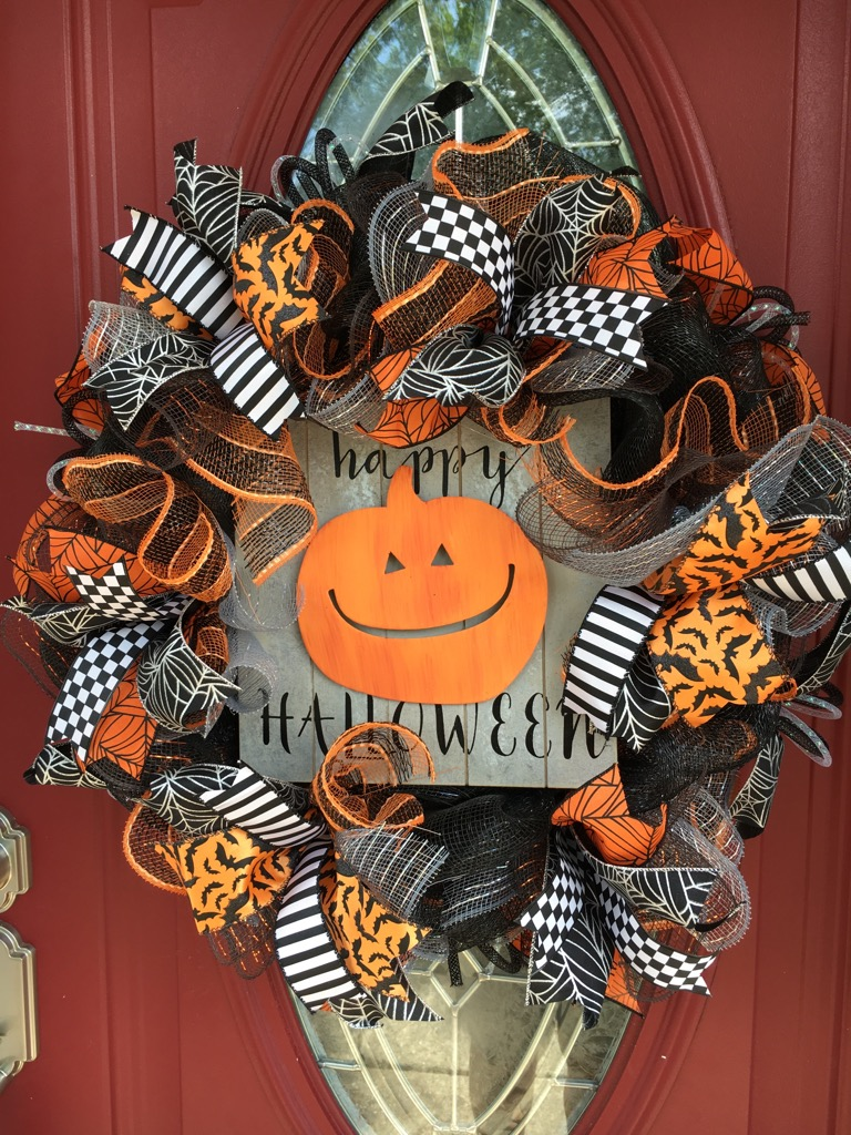 Halloween Front Door Wreaths Pumpkin Happy 4
