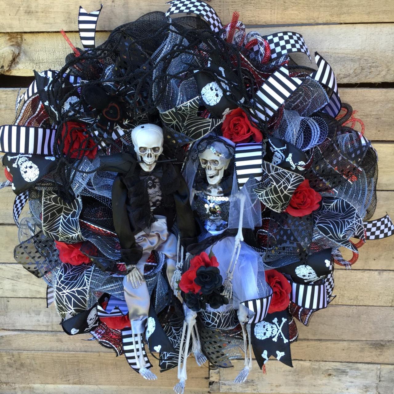 Halloween Wreath Front Door Halloween Wreath Bride and Groom
