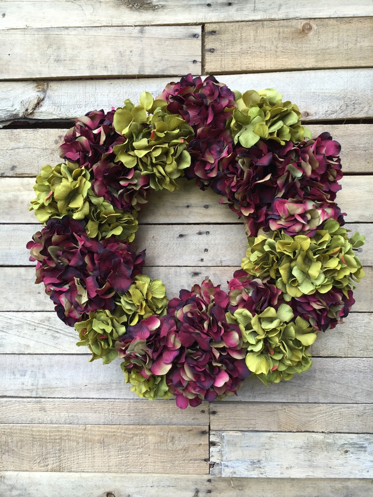Sale! ?; ? & Everyday Wreath Door Wreath Hydrangeas Hydrangeas Wreath Purple Hydrangeas Green Hydrangeas Interior Wall Wreath Housewarming Gift Condolences ...