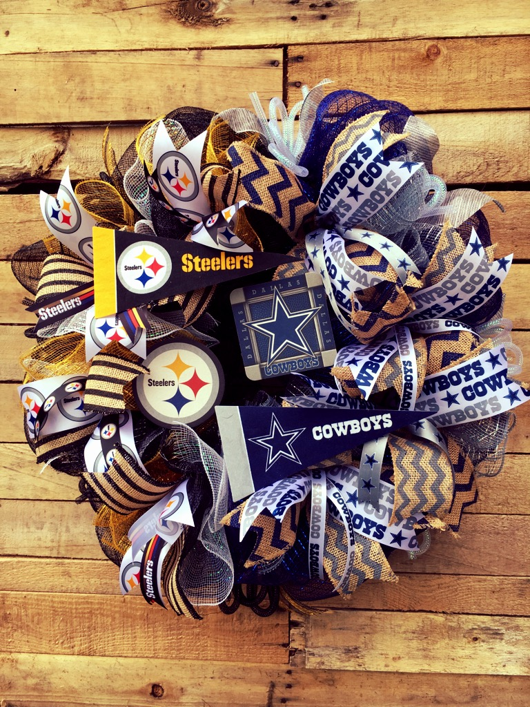 House Divided Wreath Football Divided Wreath Steelers
