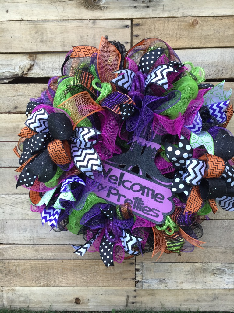 Halloween wreath halloween door wreath welcome my for 3 wreath door decoration