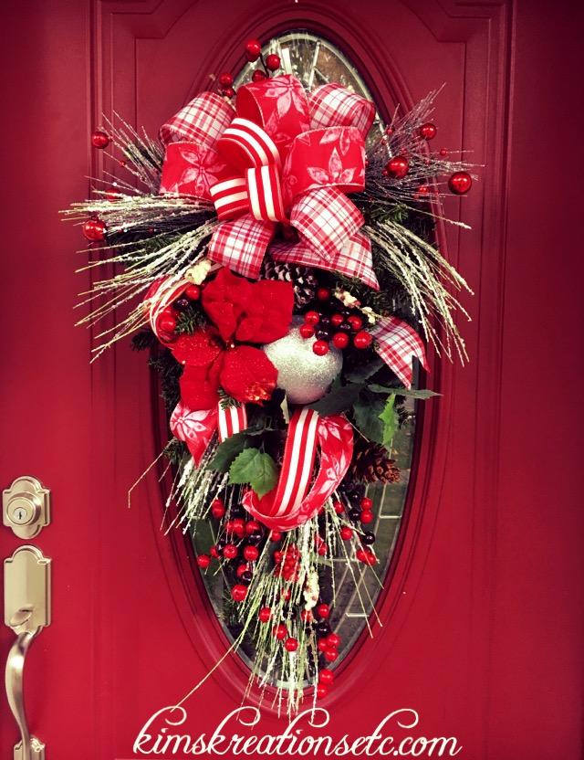 Christmas Teardrop Swag Christmas Wreath Holiday Door Swag