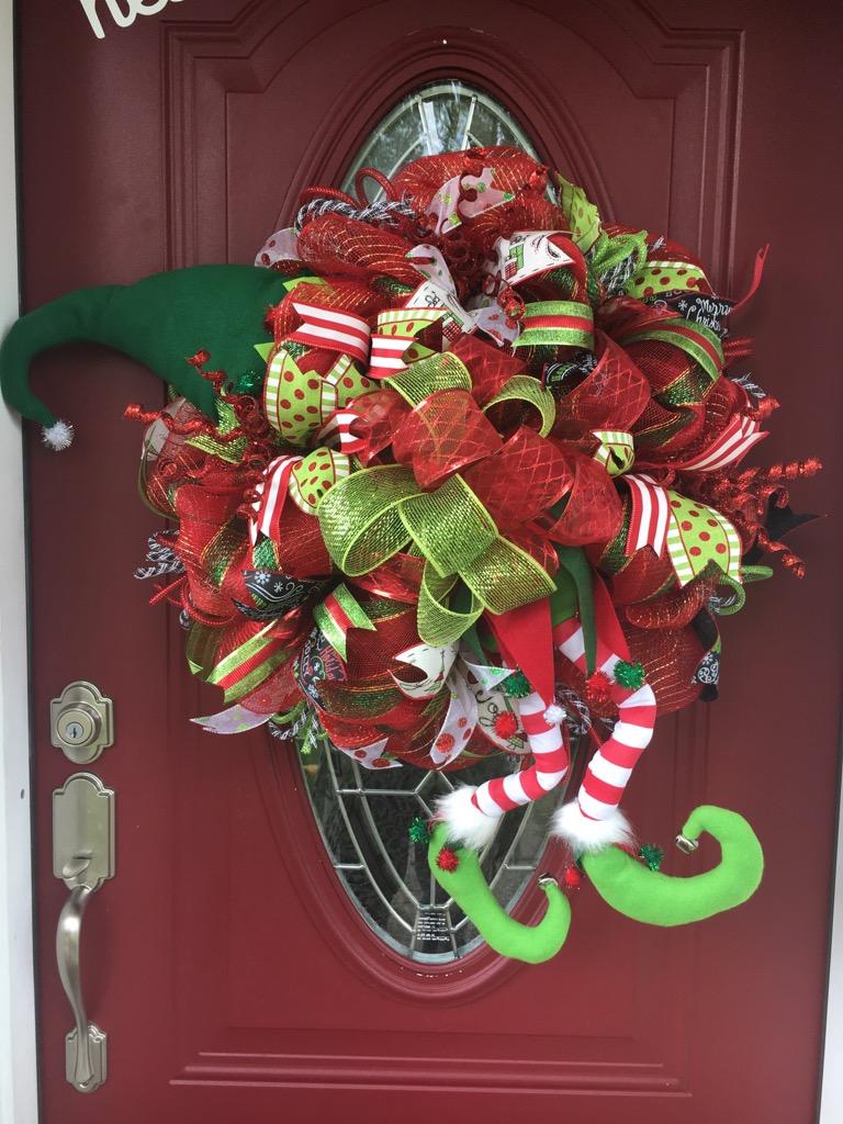 Christmas wreath holiday wreath christmas elf wreath for Elf door and elf