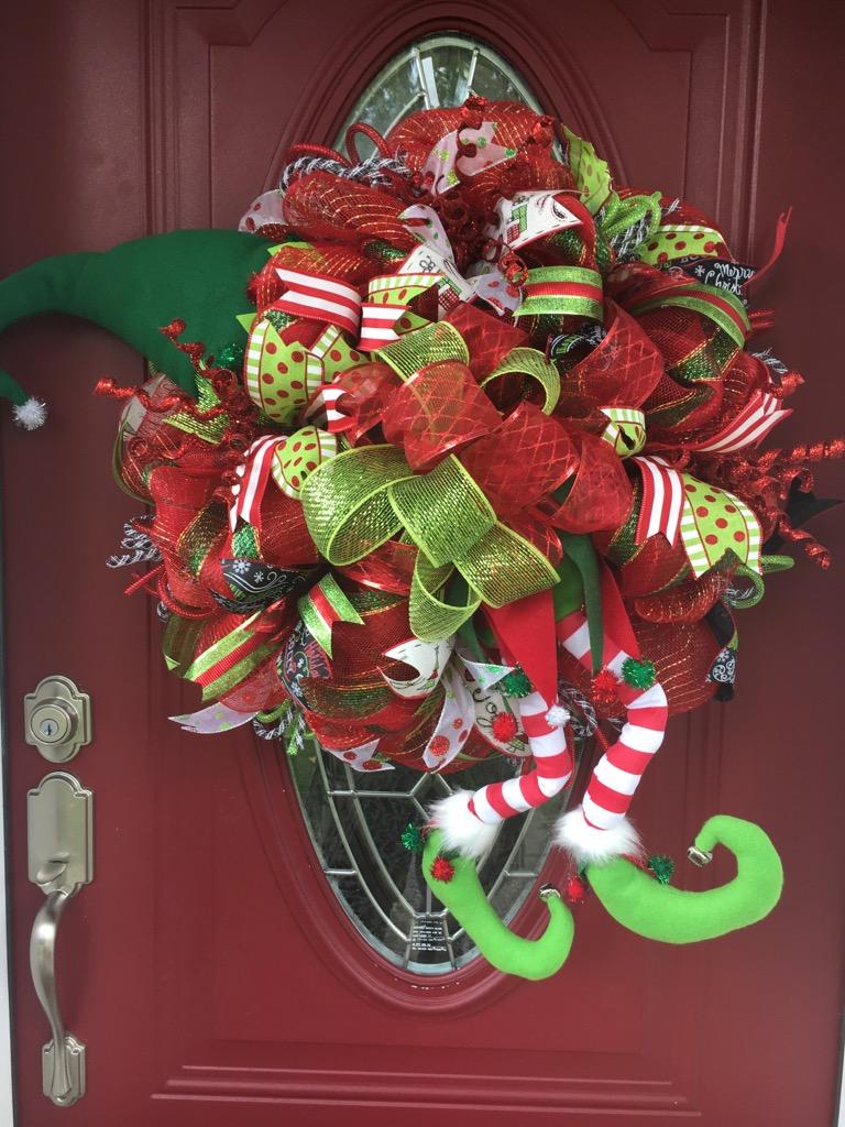 Christmas Wreath Holiday Wreath Christmas Elf Wreath