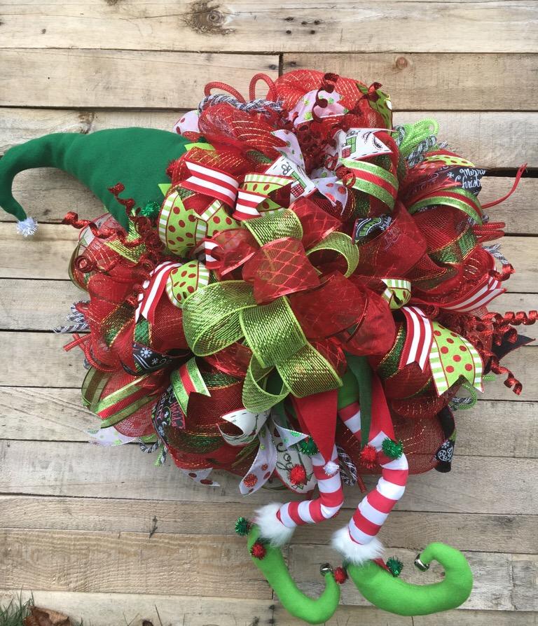 Christmas Wreath, Holiday Wreath, Christmas Elf Wreath, Christmas Character Wreath, Christmas Deco Mesh Wreath, Christmas Decorative Wreath, Holiday Door ...