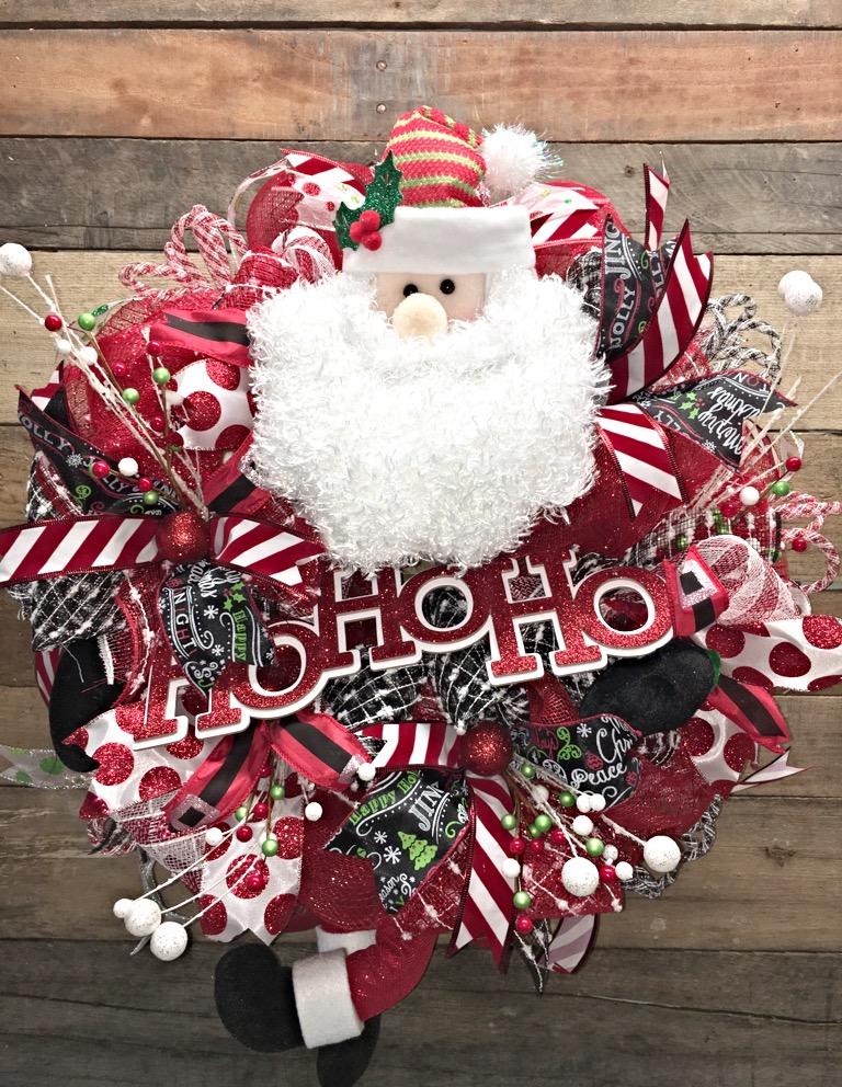 Christmas Wreath, Santa Claus Wreath, Christmas Santa Door Wreath, Christmas Decorative Wreath, Holiday Door Wreath, Santa Wreath, Santa Door Wreath, ...