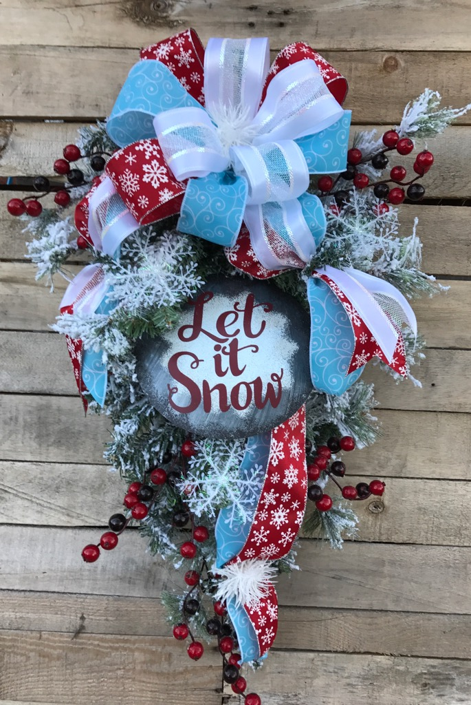 Christmas Swag, Flocked Winter Teardrop Swag, Holiday Door Swag ...