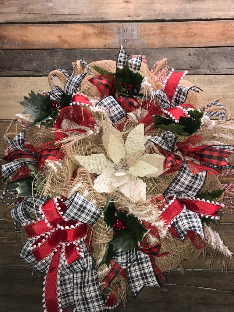 rustic wreath rustic decor sale - How To Decorate A Burlap Wreath For Christmas