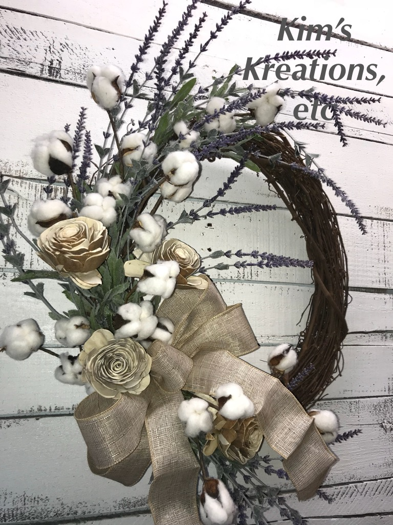 Farmhouse Wreath Lavender And Cotton Bolls Rustic Wreath Everyday