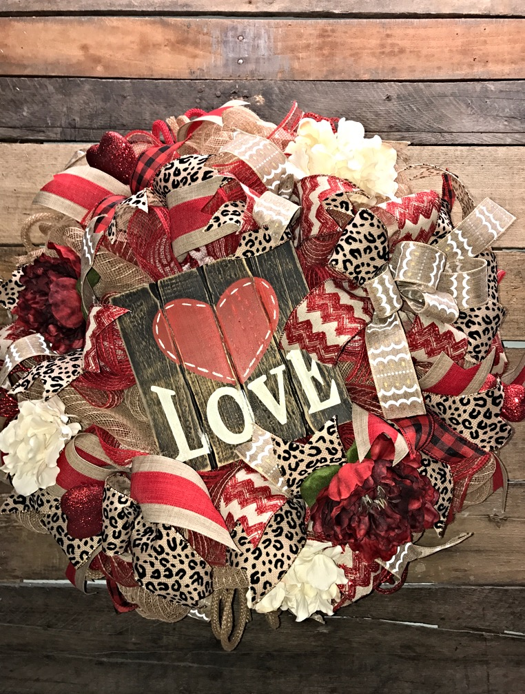 Valentines Wreath Valentines Day Decor Valentines Door Wreath