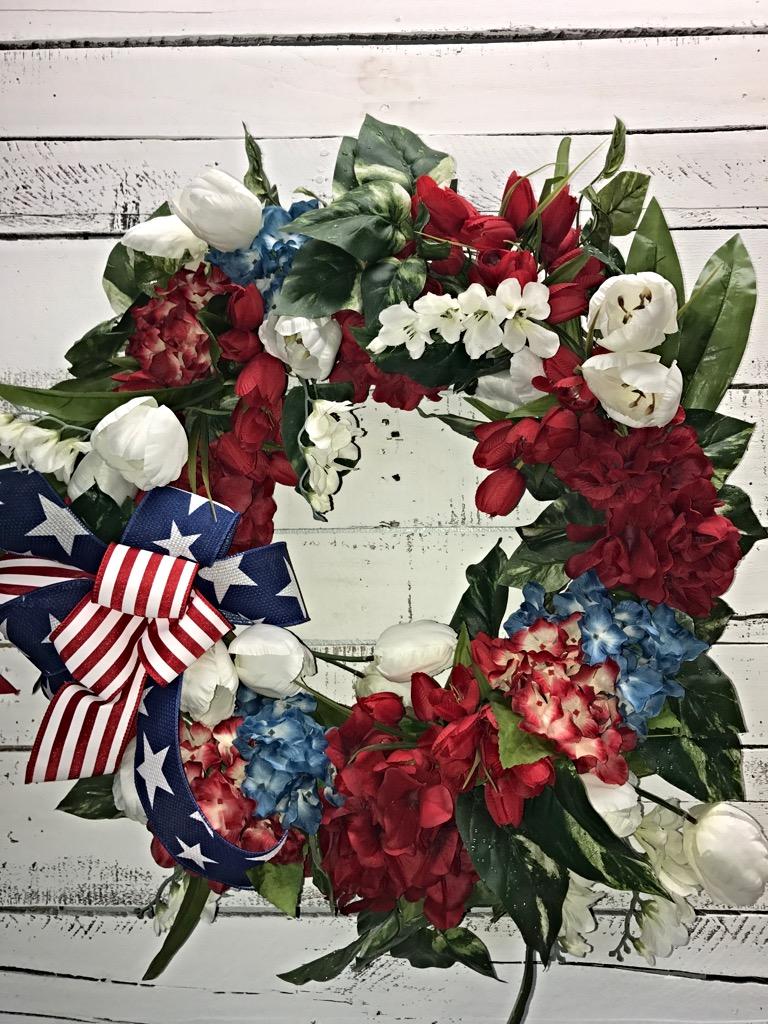 Patriotic wreath patriotic door wreath red hydrangeas 4th of july patriotic floral 1 izmirmasajfo Gallery