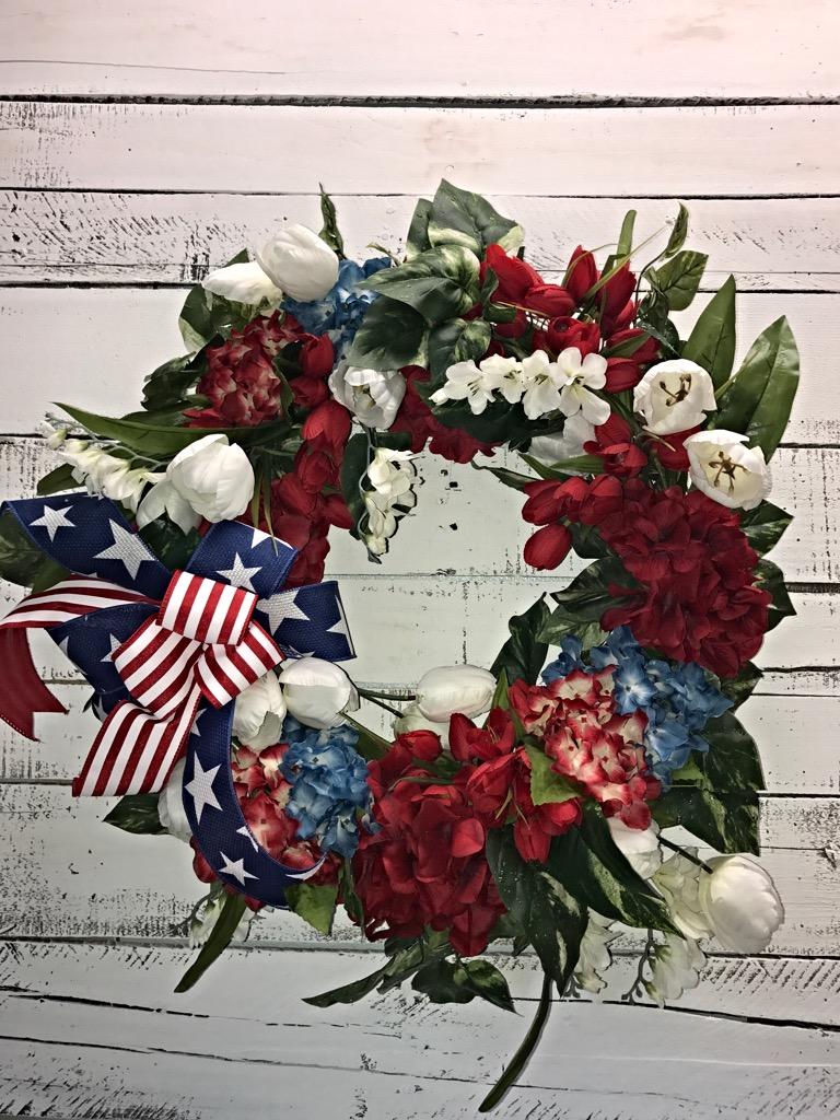 Patriotic Wreath Patriotic Door Wreath Red Hydrangeas 4th Of July
