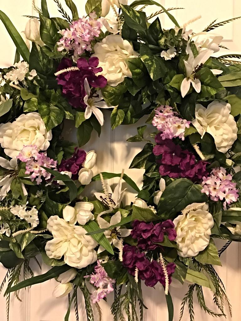 Spring wreath spring floral wreath front door wreath decorative purple cream spring 2 purple cream spring 5 rubansaba