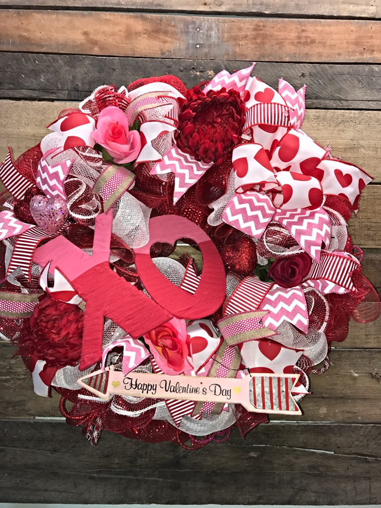 Valentine wreath valentine decoration xo wreath for 3 wreath door decoration