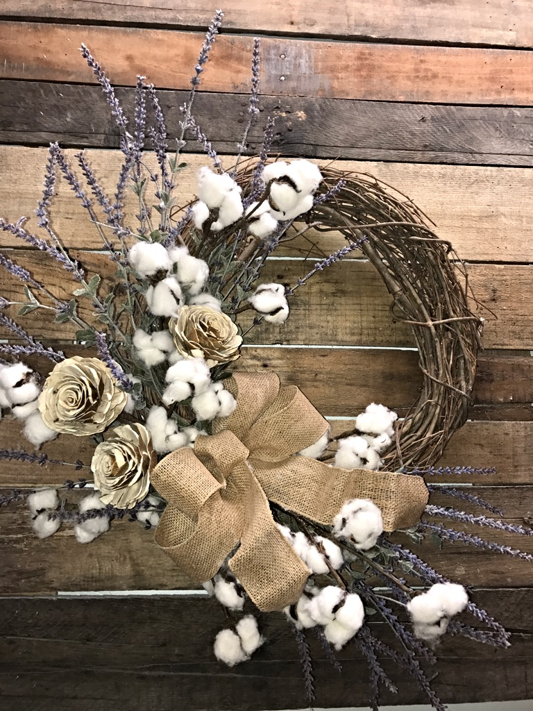 Farmhouse wreath lavender and cotton bolls rustic wreath for Things to hang on front door