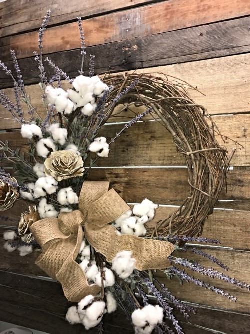 Farmhouse Wreath Lavender And Cotton Bolls Rustic Wreath