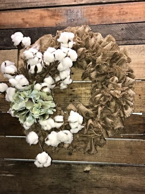 burlap cotton hydrangea