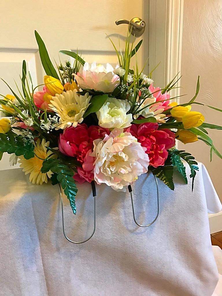 Spring flowers for cemetery headstone headstone saddle headstone gravesite spring flowers headstone saddle arrangement sale mightylinksfo
