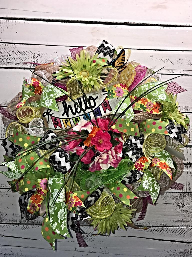 Spring Wreath Spring Door Wreath Decorative Wreath Large Spring