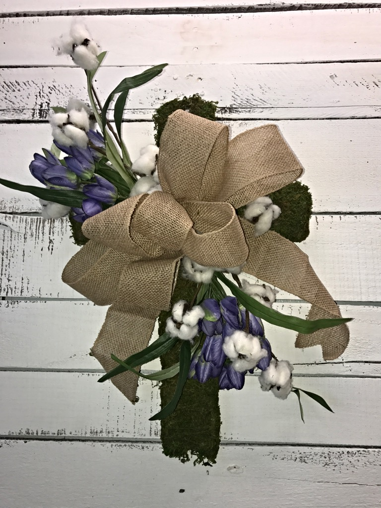 Rustic Farmhouse Moss Covered Cross With Natural Cotton Boll Stems