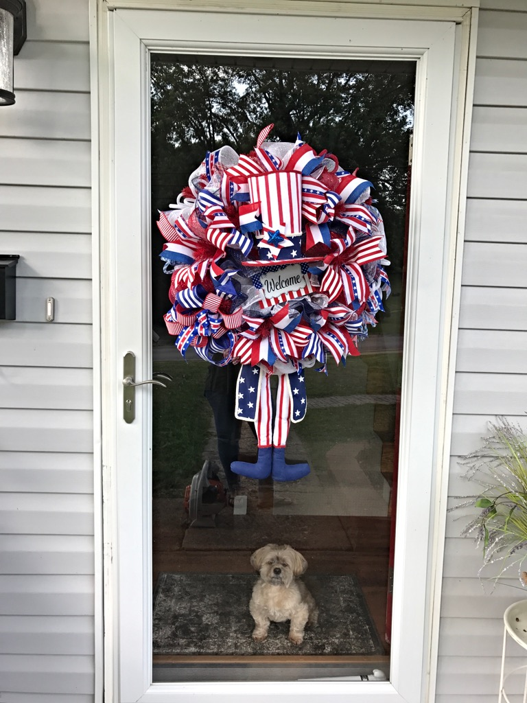 Patriotic Wreath Uncle Sam Red White Blue Memorial Day Wreath 4th Of July Wreath American
