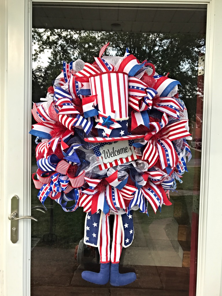 Patriotic wreath uncle sam red white blue memorial day for Patriotic decorations for home