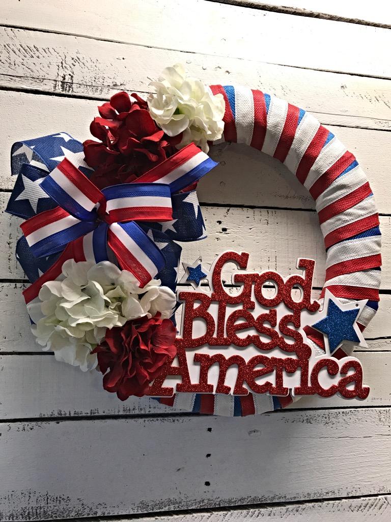 Patriotic Wreath God Bless America Door Wreath Patriotic