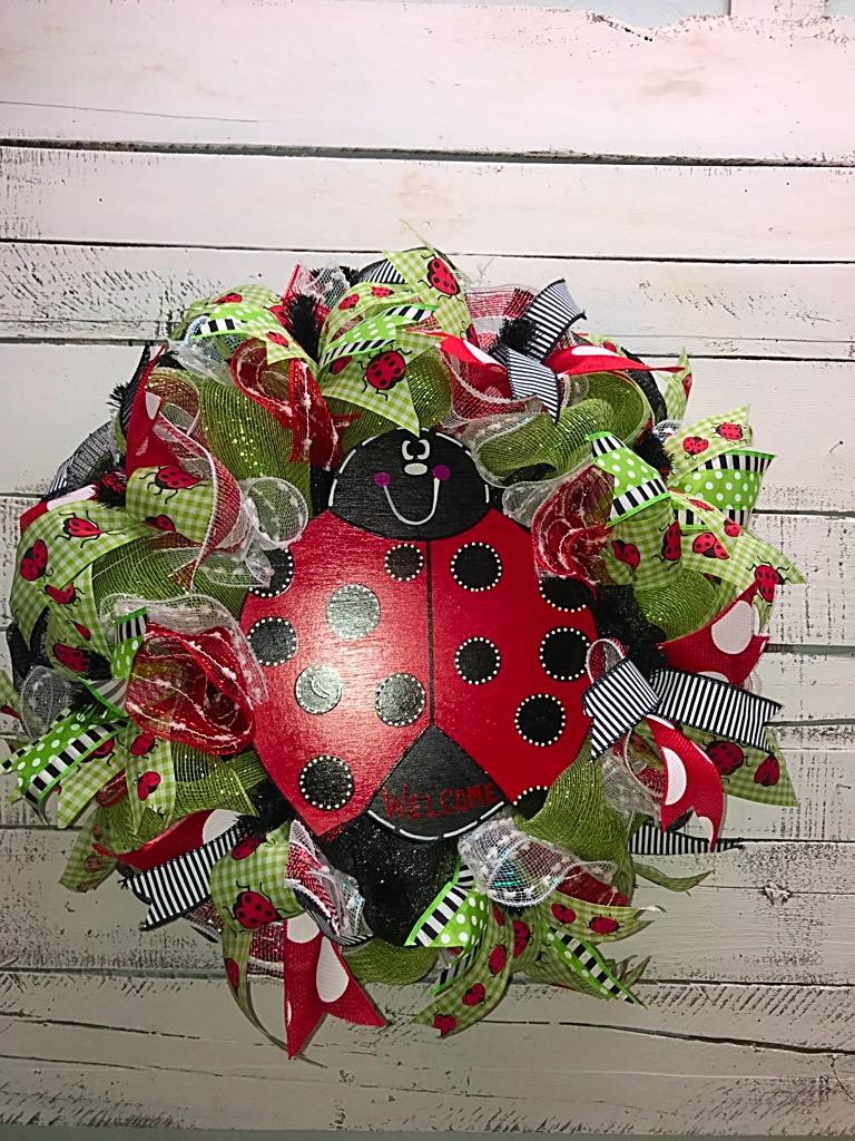 Summer wreath ladybug wreath welcome wreath springsummer ladybug ladybug 4 ladybug 3 rubansaba