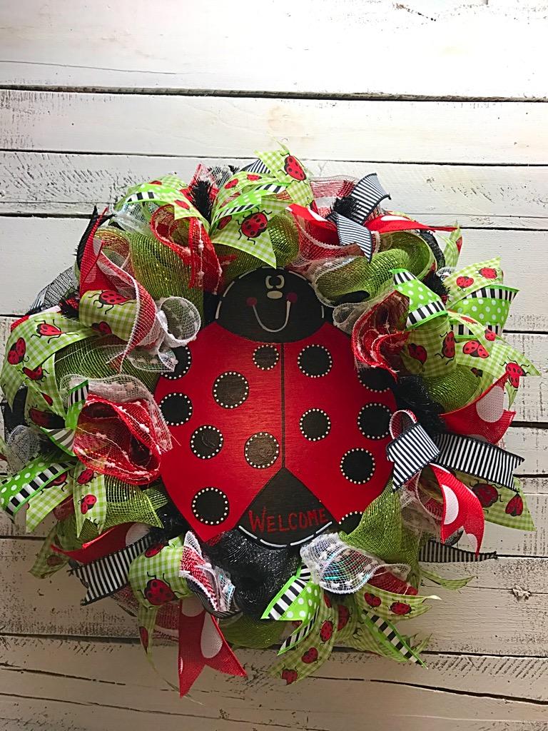 Summer wreath ladybug wreath welcome wreath springsummer ladybug rubansaba
