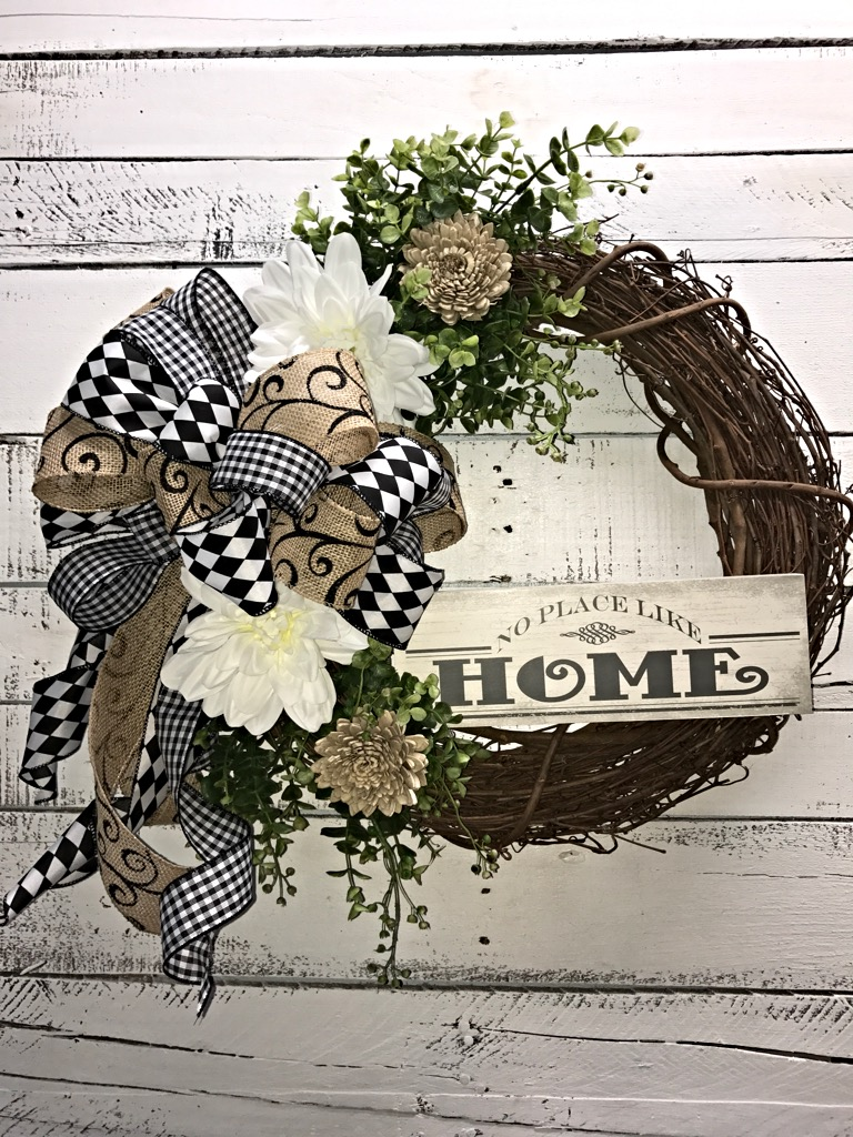 Front door decor for all seasons -  Wreath For Any Season No Place Like Home
