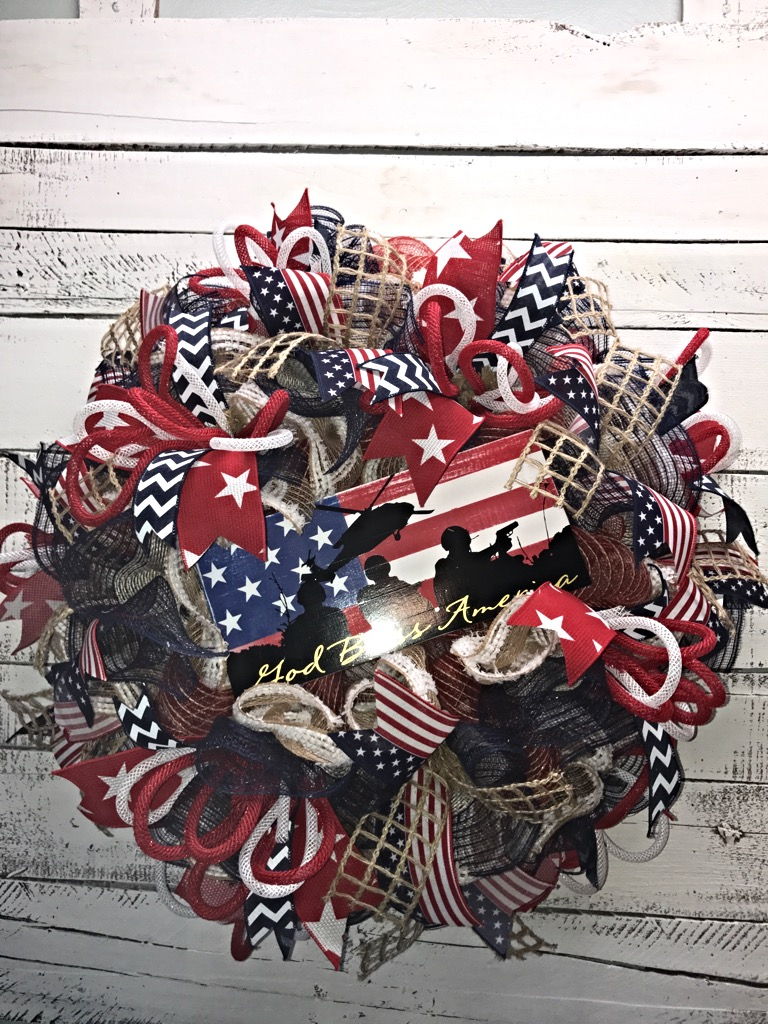 Patriotic Wreath 4th Of July Wreath Fourth Of July Wreath Patriotic Wreath For Front Door