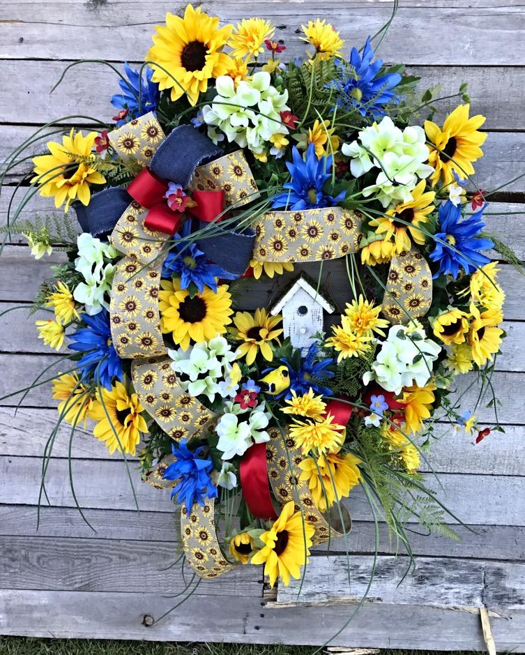 Beau ... Front Door Wreath, Sunflowers, Decorative Wreath, Home Decor. ; 