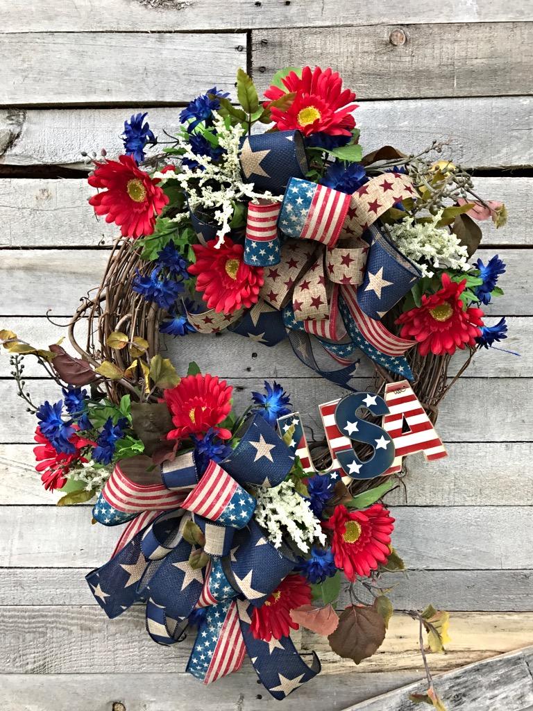 Patriotic Wreath Usa Wreath Patriotic Wreath For Front Door Patriotic Door Wreath Red White