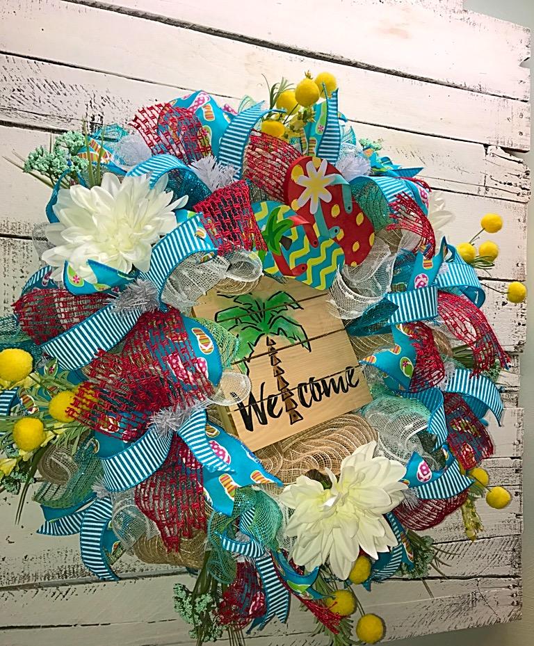 summer wreaths for front doorON SALE Summer Wreath Summer Wreath for Front Door Summer Palm