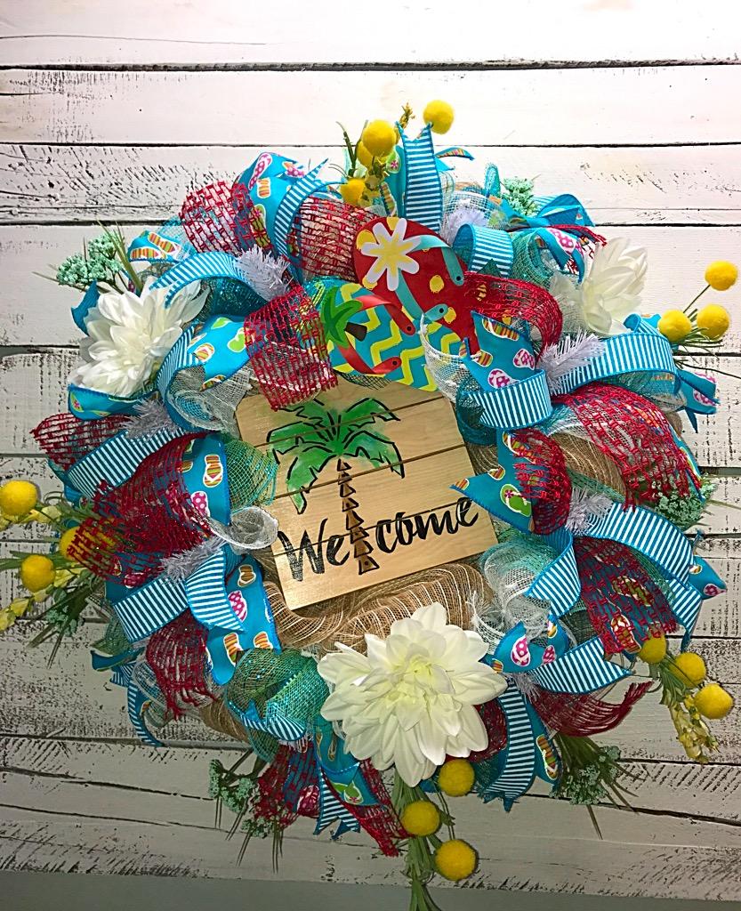 On sale summer wreath summer wreath for front door summer palm welcome palm tree rubansaba