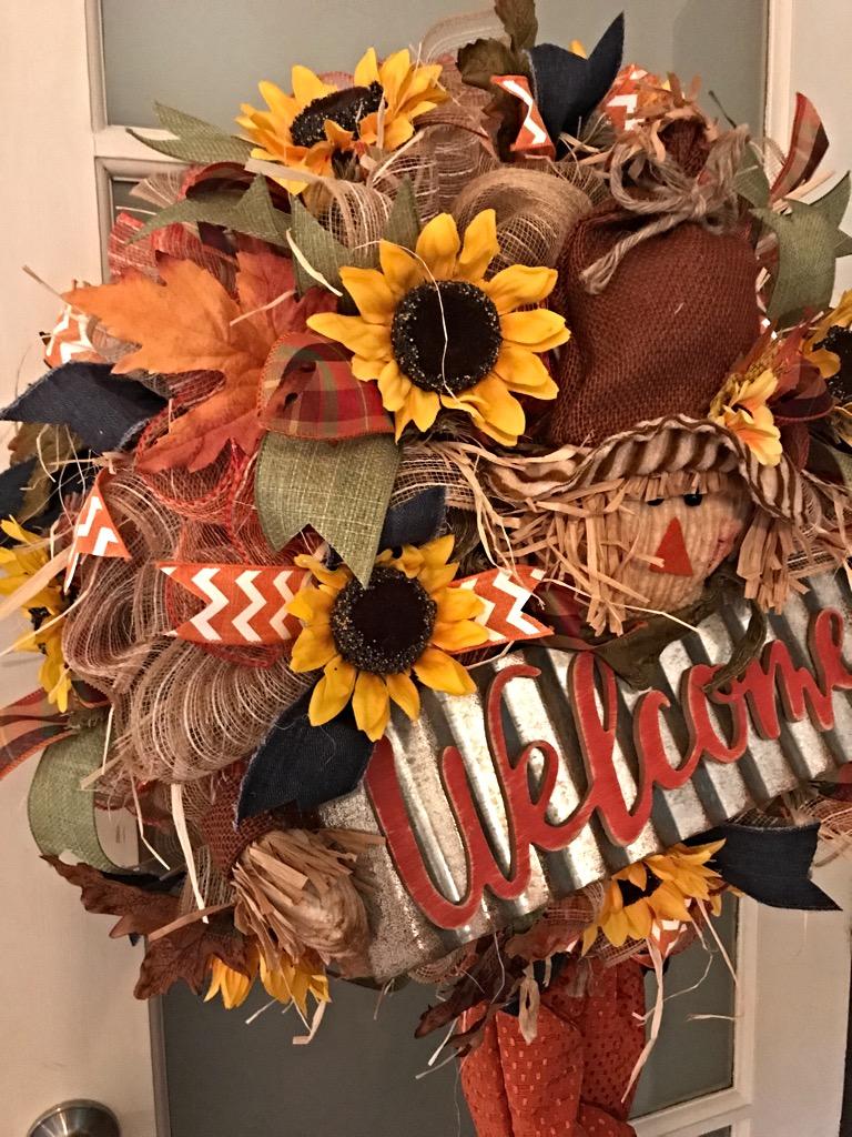Fall scarecrow wreath fall welcome wreath fall door wreath fall scarecrow welcome 6 rubansaba