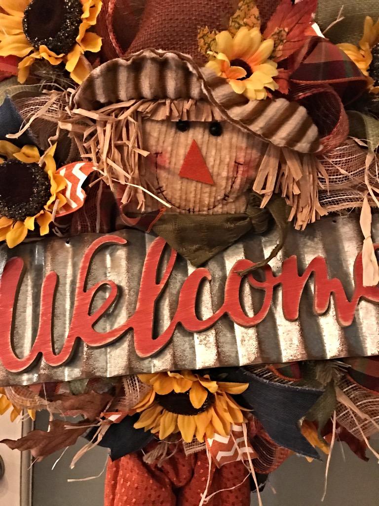 Fall Scarecrow Wreath Fall Welcome Wreath Fall Door Wreath Scarecrow Wreath For Front Door
