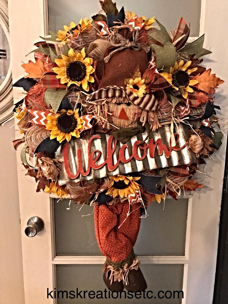 Fall scarecrow wreath fall welcome wreath fall door wreath fall scarecrow welcome 8 rubansaba