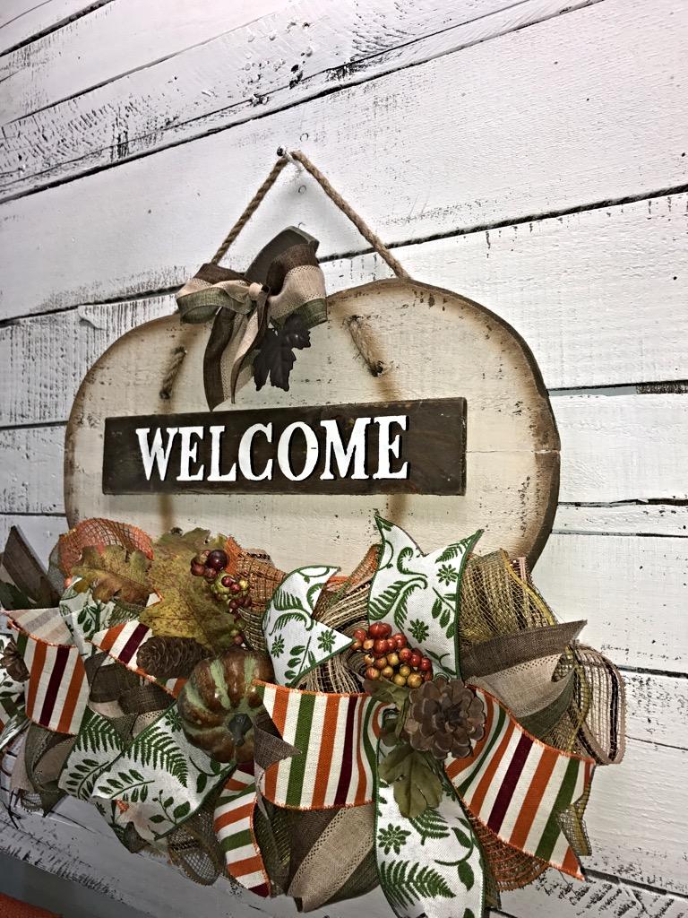 Door hanger fall front door decoration pumpkin door decoration -  Fall Welcome Pumpkin Door Hanger 4