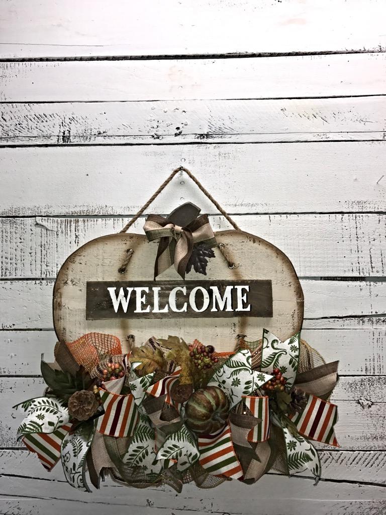 Door hanger fall front door decoration pumpkin door decoration -  Fall Welcome Pumpkin Door Hanger 6