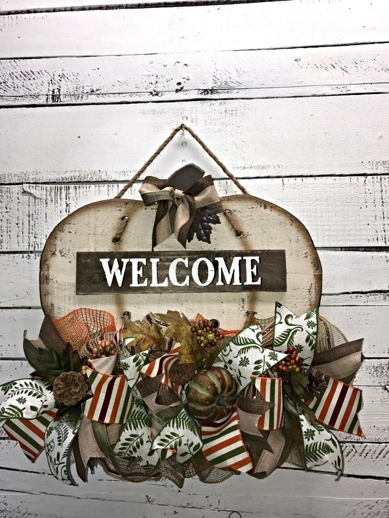 Door hanger fall front door decoration pumpkin door decoration -  Fall Welcome Pumpkin Door Hanger