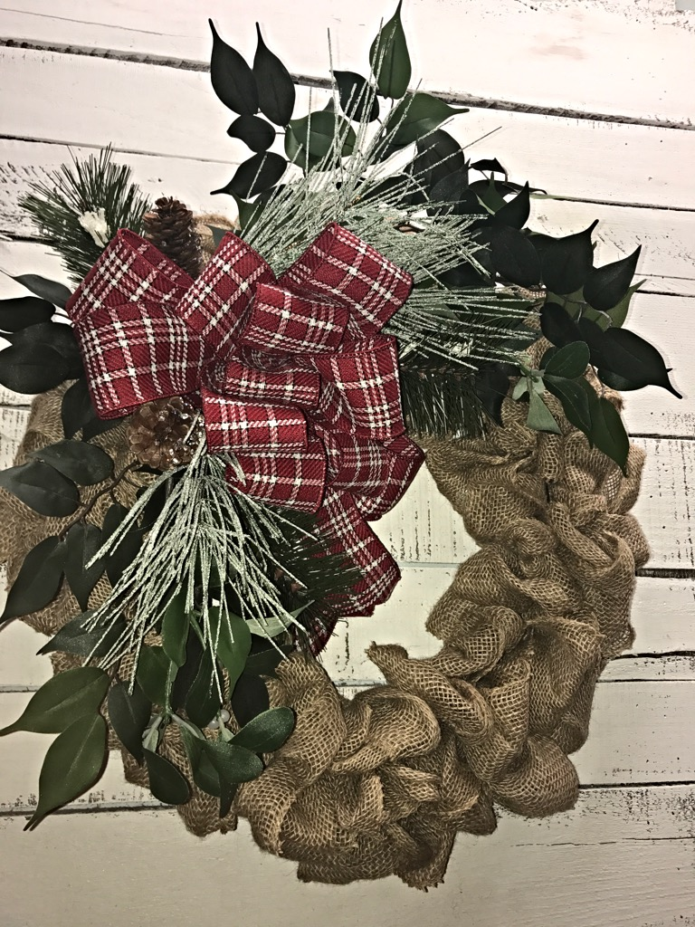 holiday decorative wreath burlap home decor sale - Burlap Christmas Wreath