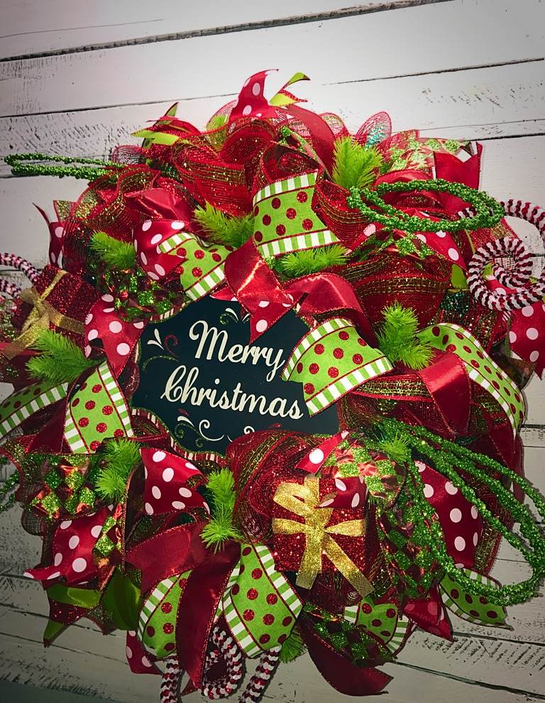 Christmas wreath merry christmas deco mesh wreath red Christmas wreath decorations