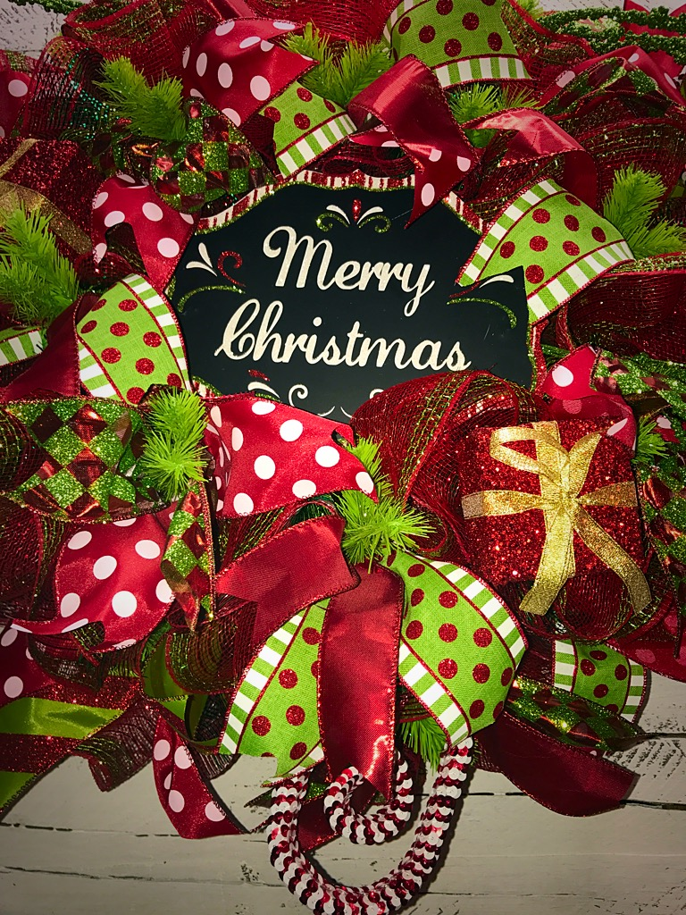 Christmas wreath merry deco mesh red
