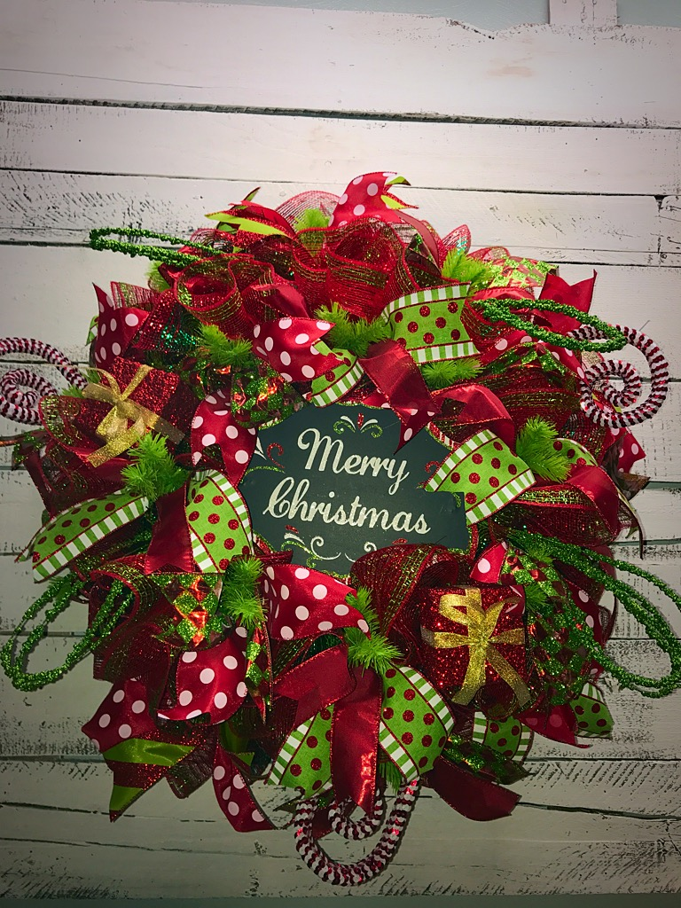 Christmas Wreath Merry Christmas Deco Mesh Wreath Red Green Christmas Wreath Large Holiday Wreath Christmas Door Wreath Whimsical Christmas